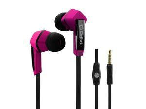 Unnecto Rush Square 3.5mm Flat Wire Stereo Hands_Free Ear Buds _Black_Pink