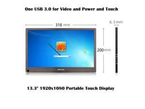 """High-end 13.3"""" 1920x1080 Full HD IPS Portable Touch Screen Monitor with Type-C / Mini HDMI / Audio Ports, Only One USB3.0 Connection for Video Transmission and Power Supply and Touch Control."""