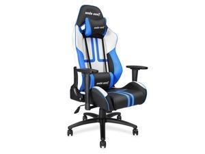 Anda Seat Viper Series Large Size Gaming Chair Swivel Rocker Tilt E-sports Recliner Office Chair with Pillows (Black/White/Blue) AD7-05-BWS-PV
