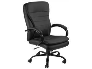 GTracing Modern Ribbed Office Chair Leather Office Chair High back Ergonomic Chair Swivel Conference Chair (2611-BLACK)