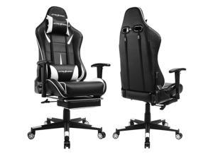 GTracing Gaming Chair Ergonomic Office Chair with Footrest Heavy Duty E-sports Chair for pro gamer Seat Height Adjustable Multifunction Recliner with Headrest and Lumbar Support Pillow GT909