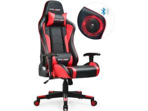 GTRACING Gaming Chair with Bluetooth Speakers Music Video Game Chair Audio Heavy Duty Computer Desk Chair GT890M-RED