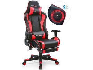 GTRACING Music Gaming Chair with Footrest and Bluetooth Speakers Video Game Chair Heavy Duty Computer Office Desk Chair GT890MF Red