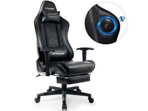 GTRACING Gaming Chair with Footrest Speakers Bluetooth Racing Chair Audio Heavy Duty Computer Desk Chair GT901M-Black