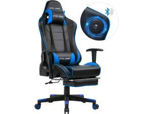 GTRACING Gaming Chair with Bluetooth Speakers and Footrest Music Video Game Chair Audio Heavy Duty Computer Desk Chair GT909MF-Blue