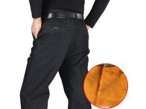 f8fbf0c40 Winter Thick Fleece Denim Pants Casual High Waist Loose Long Pants Male  Solid Straight Baggy Jeans