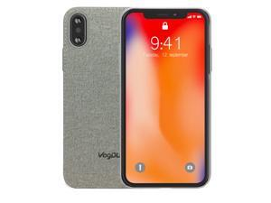 VogDUO Shell Series iPhone X Case with Denim Style Polyurethane Back, No Slip Design, Ultra Thin Drop Protection for Apple iPhone X (2017) - Smoky Gray Denim