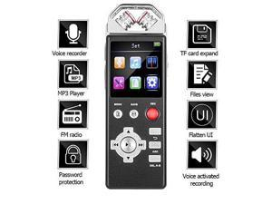Digital Voice Recorder by Aiworth,8Gb 1536Kbps Voice Activated Recorder FM Radio,Dictaphone,MP3 Player 3 in 1,Built-in 2 inch Colorful Screen and Flat UI,Password,Play speed adjust,TF Card Expansion