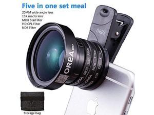 5IN1 Camera Lens Kit for Samsung S8 Phone,20mm Wide Angle Lens &15x Macro Lens &37mm CPL Lens Filter &37mm Star Filter & 37mm ND Filter For Andriod Pixel Samsung Iphone Smartphone