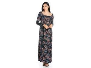 d09f39615b6 24seven Comfort Apparel Paisley Empire Waist Long Sleeve Maxi Dress