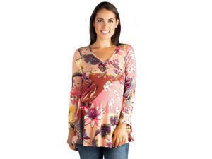 7581fb7d8dc6d 24seven Comfort Apparel Blush Floral Long Sleeve ...