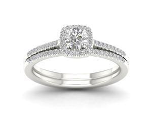 Bridal Ring Set Engagement 10kt White