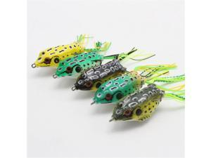 5PC Large Frog Topwater Soft Fishing Lure Crankbait Hooks Bass Bait Tackle New