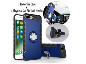 IPHONE 6 PLUS Rugged Finger Ring KickStand Case And Air Vent Magnetic Car Mount / Armour Ring Buckle Case / Anti Slip 360 Degree Rotating Finger Ring Holder and Magnet Car Holder (Blue)