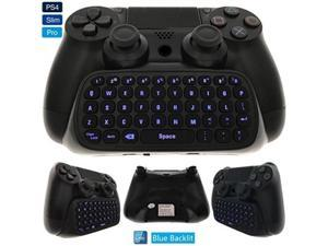 ALV Whiteoak PS4 Keyboard, Wireless Mini Backlit Chatpad, Great KeyPad Adapter for PlayStation 4 PS4, Slim, Pro Controller - 2.4GHz Receiver included