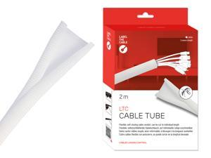 Cable Managment Cord Cover, Self-Closing, 6.6 ft (2m), White - Cut-to-Size & Flexible Wire Molding, Wire Wrap, Cable Sleeve, Cord Organizer, Cable Raceway, Cord Keeper - LTC 5120 CABLE TUBE