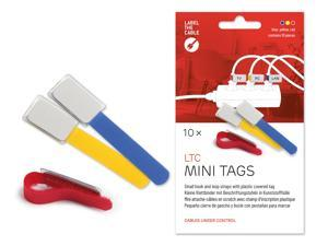 Cable Management Cable Ties with Labels, 10 PCS, Mixed Color- Reusable Hook and Loop Cable Labels, Cord Organizer for Travel, Wire Management, Wire Labels, Cord Labels, Cable Tags - LTC 2530 MINI TAGS