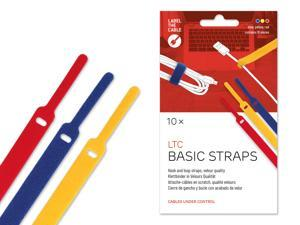 Cable Management Hook and Loop Cable Ties, 10 PCS, Mixed Color, Velour Quality - Wire Ties Reusable, Cord Organizer, Wire Management, Cord Manager, Hook and Loop Fastener - LTC 1130 BASIC STRAPS