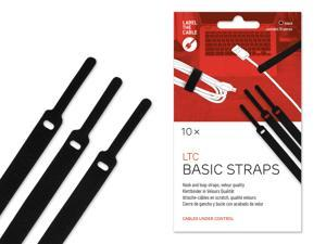 Cable Management Hook and Loop Cable Ties, 10 PCS, Black, Velour Quality - Wire Ties Reusable, Cord Organizer, Wire Management, Cord Manager, Hook and Loop Fastener - LTC 1110 BASIC STRAPS