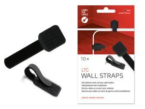 Cable Management Cable Clips, 10 PCS, Black - Self-Adhesive Cable Clamp, Hook and Loop Wire Clips, Cord Holder, Wire Molding, Cord Organizer, Wire Management, Cable Drops - LTC 3110 WALL STRAPS