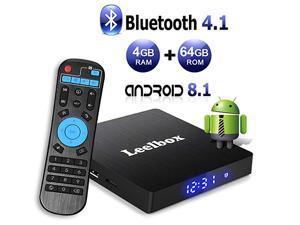 Leelbox Q4 MAX  Android TV Box 8.1, 4GB RAM+64GB ROM Quad-Core 2.4GHz Support BT 4.1/WiFi/3D/4K/H.265 media player
