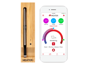 MEATER+ Smart Wireless Meat Thermometer with Internal and Ambient Sensors for Consistent Results Extended Bluetooth range edition - Amazon Alexa compatible