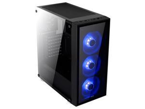 AeroCool Mid Tower QuartZ-Blue include 3 Blue LED front Fan and Front and Side with Tempered Glass Window panel.