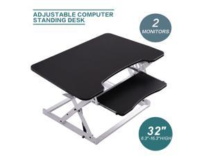 Adjustable Height Sit Stand Up Desk with Retractable Keyboard Shelf