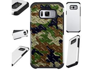 For Samsung Galaxy S8 Case Hybrid TPU Fusion Phone Cover (Camo Green Brown Crosshatch)