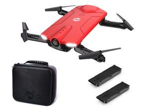 Holy Stone - HS160 Foldable Wifi FPV Drone with 720P Camera and Bonus Battery + Storage Case, Red