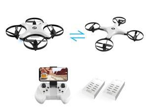 Holy Stone - HS220 Foldable Wifi FPV Drone with 720P Camera and Bonus Battery, White