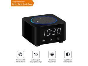 Echo Dot (2nd Gen) Docking Station with LED Clock (Black)