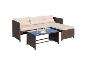 00584c29a25 Homall 4 PC Wicker Outdoor Patio Furniture Set Rattan Sofa