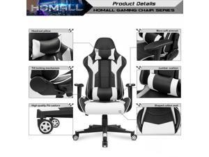 Homall Racing Style Ergonomic Computer Gaming Chair with High-Back Swivel PU Leather, Seat Height Adjustable, and Lumbar & Head Support