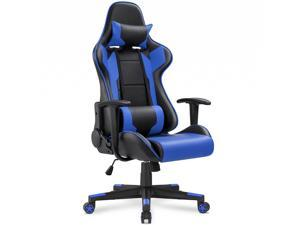 Homall Gaming Chair Racing Style High-back with Premium PU Leather and Ergonomic Computer Swivel Chair with Headrest and Lumbar Support(Blue/Black)