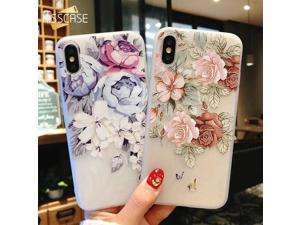 KISSCASE 3D Relief Floral Phone Case For iPhone 6s 7 XS Max Case Girly Silicon Cover