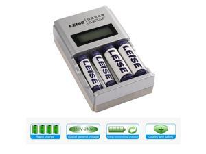 LCD Quick Charger With 4 Slots AA & AAA Rechargeable Battery Charger Converter