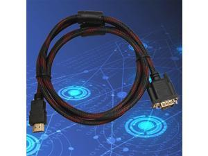 1.5M Length HDMI Male To VGA Data Connector Adapter Converter Cable Black