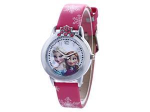 Frozen Girls Pattern Waterproof Quartz Watch for Children - Red/Snow Pattern Leather Strap Quartz