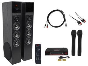 Rockville Bluetooth Home Theater/Karaoke Machine System w/(2) Wireless Mics+Subs