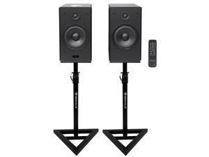 "Pair Rockville HD5 5"" 150w RMS Bluetooth Bookshelf Home Speakers+Stands - Black"