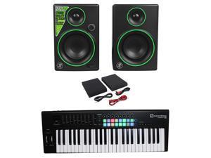 Novation LAUNCHKEY-49-MK2 49-Key USB MIDI Keyboard Controller+2) Mackie Monitors