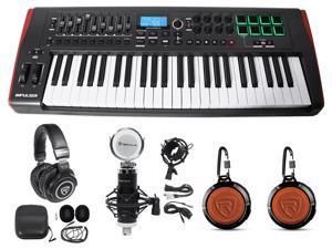 Novation IMPULSE 49Key MIDI USB Keyboard Controller+Speakers+Mics+Headphones