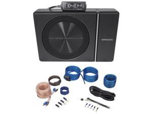 """Kenwood KSC-PSW8 8"""" 250w Slim Under-Seat Powered Car/Truck Subwoofer + Wire Kit"""