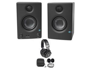 "Pair Presonus Eris E3.5 3.5"" Powered Studio Monitor Speakers+Studio Headphones"