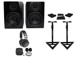 "Pair Rockville APM6B 6.5"" 350W Powered Studio Monitors+Stands+Pads+Headphones"