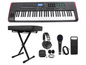 Novation IMPULSE 61-Key MIDI USB Keyboard Controller+Bench+Headphones+Mic+Cable