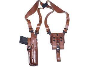 Masc Premium Leather Vertical Shoulder Holster System for Glock 41, Right Hand Draw, Brown Color #1105#