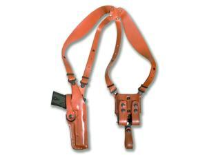 Masc Premium Leather Vertical Shoulder Holster System for Ruger SR9 / SR40 Right Hand Draw, Brown Color #1037#