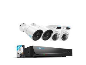 Reolink 5MP 8CH PoE Video Surveillance System, 2 x Bullet & 2 x Dome Wired Outdoor PoE IP Cameras, 5MP/4MP Supported 8 ...